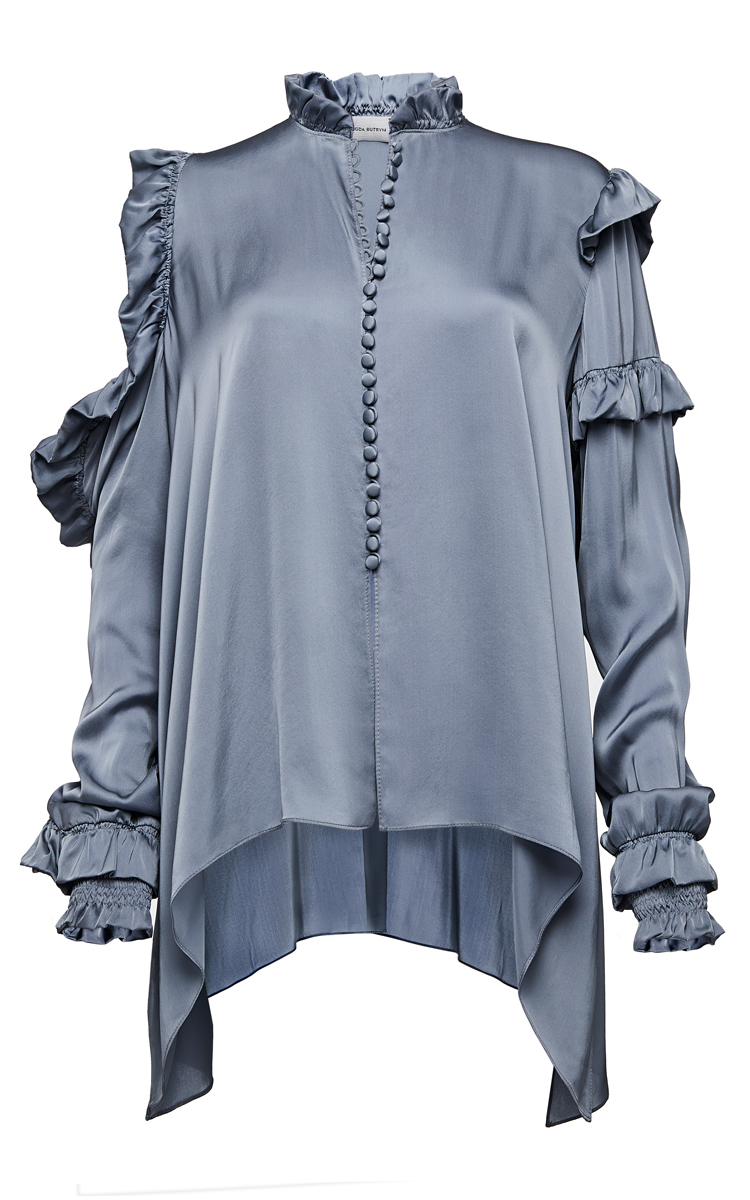 MAGDA BUTRYM Lecce Silk Satin Cold-Shoulder Blouse, Gray at Moda Operandi