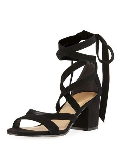 SAM EDELMAN Sheri Suede Ankle-Wrap Sandal, Black