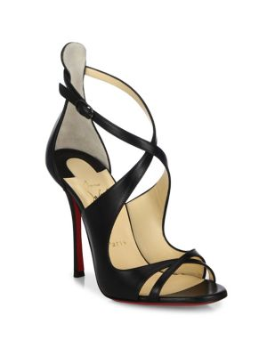 CHRISTIAN LOUBOUTIN Malefissima Crisscross 100Mm Red Sole Sandal, Black at Saks Fifth Avenue