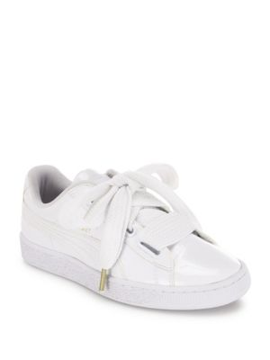 PUMA Basket Patent Leather Lace Up Sneakers in White