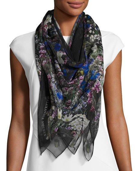 ALEXANDER MCQUEEN Wild Meadow Square Silk Scarf, Black/White