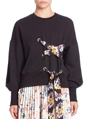 MSGM Lace-Up Detail Sweatshirt in Black