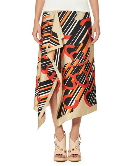 CARVEN Asymmetric Printed Silk Satin Midi Skirt, Multi Pattern