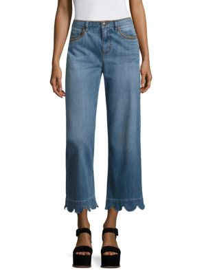 RED VALENTINO Stone-Washed Cropped Wide-Leg Jeans, Light Blue at Saks Fifth Avenue