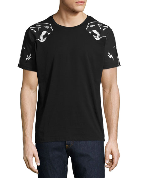 VALENTINO Panther Printed Cotton Jersey T-Shirt, Black at Neiman Marcus