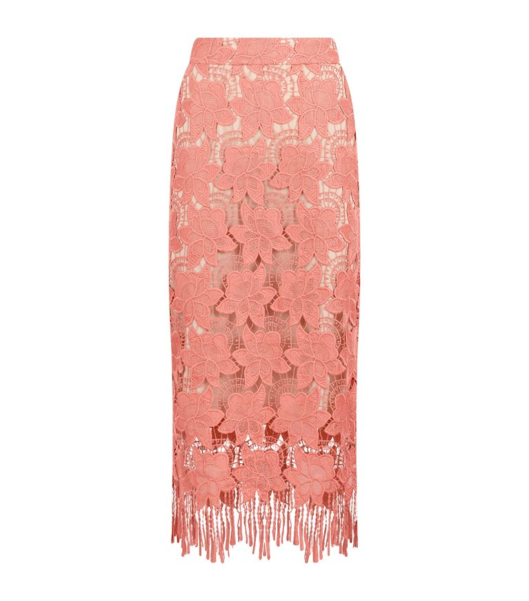 ALICE AND OLIVIA Floral Guipure Lace Pencil Skirt, Pink/White, Multi at Harrods
