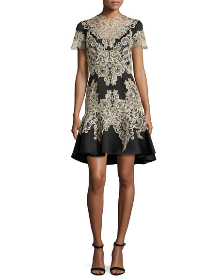 MARCHESA Stretch Crepe Fitted Cocktail With Flared Skirt Gold Beaded Appliques And Cut Out Details in Black