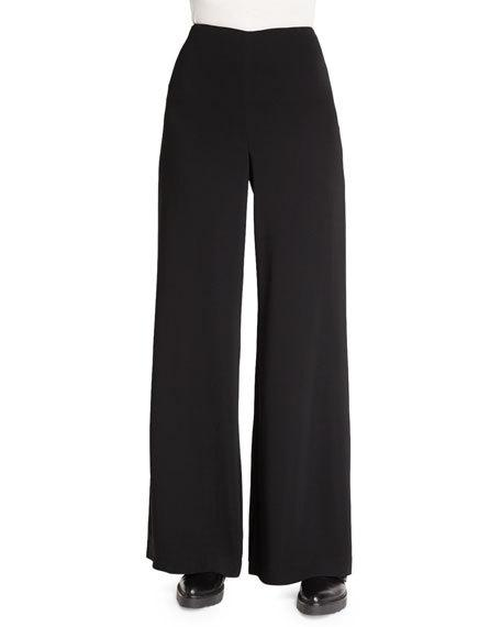 THEORY Simmone Admiral Crepe Wide-Leg Pants, Black at Neiman Marcus