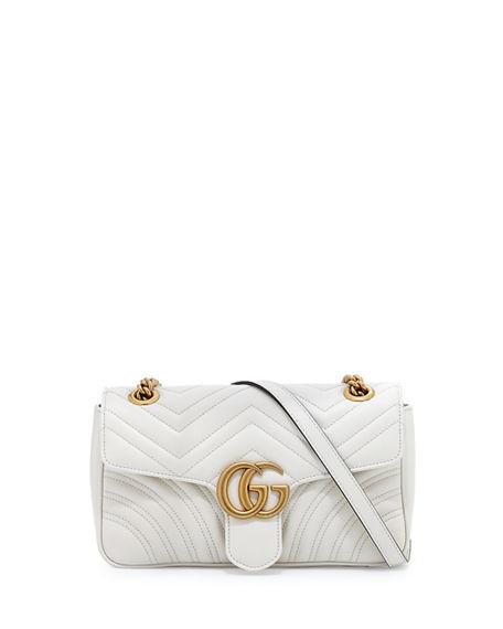 GUCCI Gg Marmont Small Matelassé Shoulder Bag, White, Natural at BERGDORF GOODMAN