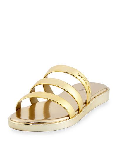 MICHAEL MICHAEL KORS Keko Metallic Flat Slide Sandal, Gold
