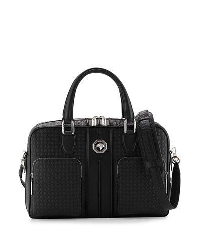 STEFANO RICCI Stamped Leather Messenger Bag, Black