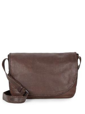 JOHN VARVATOS Motto Leather Messenger Bag in Chocolate