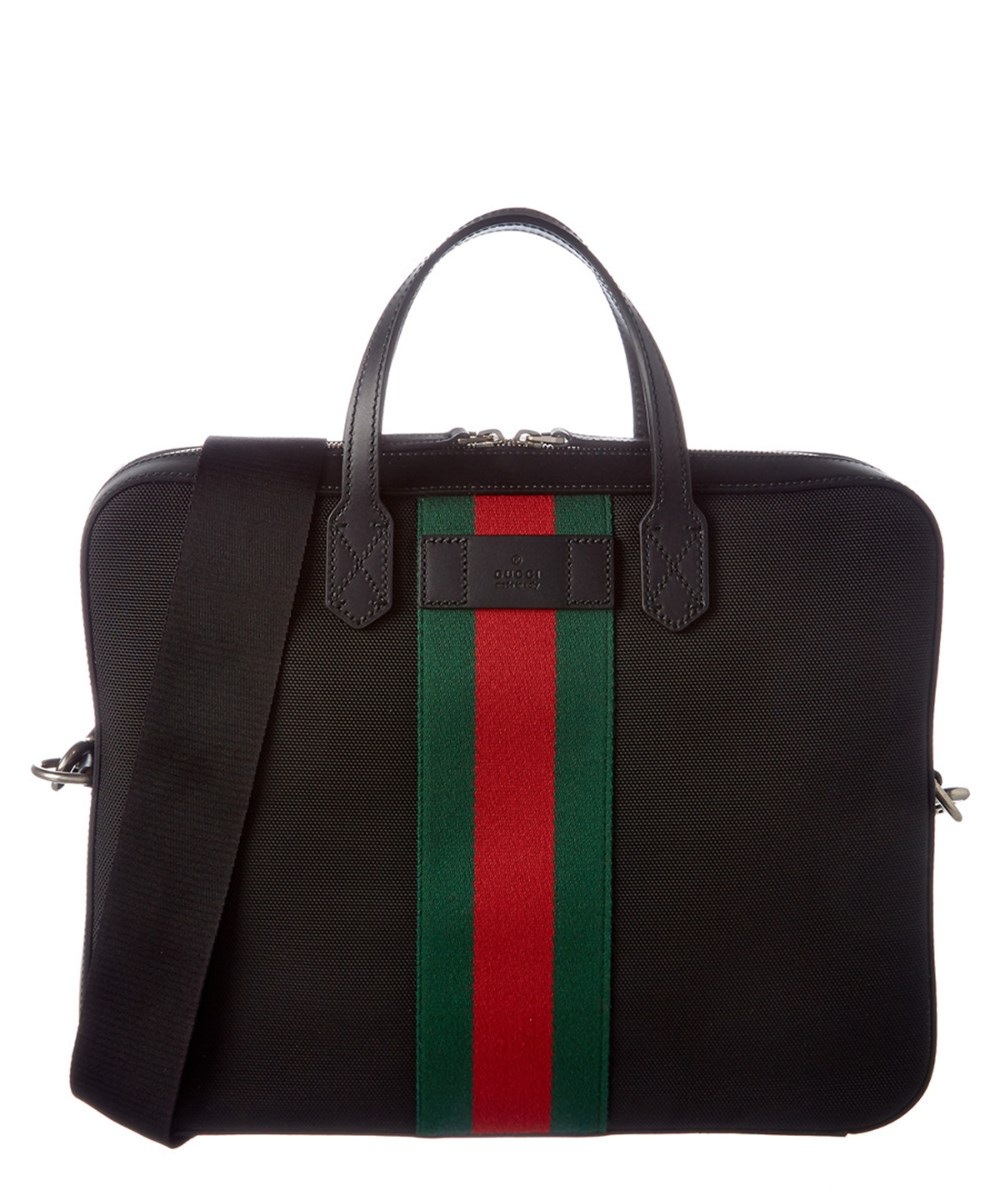 GUCCI Gucci Web Canvas Slim Briefcase' at Bluefly