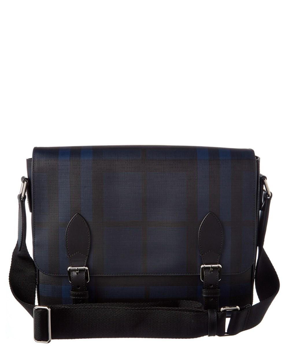BURBERRY Burberry Leather Trim London Check Messenger Bag'