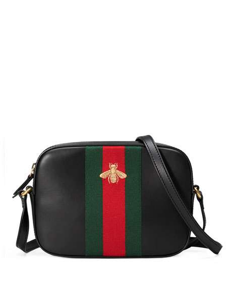 GUCCI Leather Shoulder Bag, Black/Red/Green, 6495 Hibis at Neiman Marcus