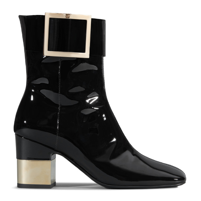ROGER VIVIER Podium Ankle Boots In Patent Leather