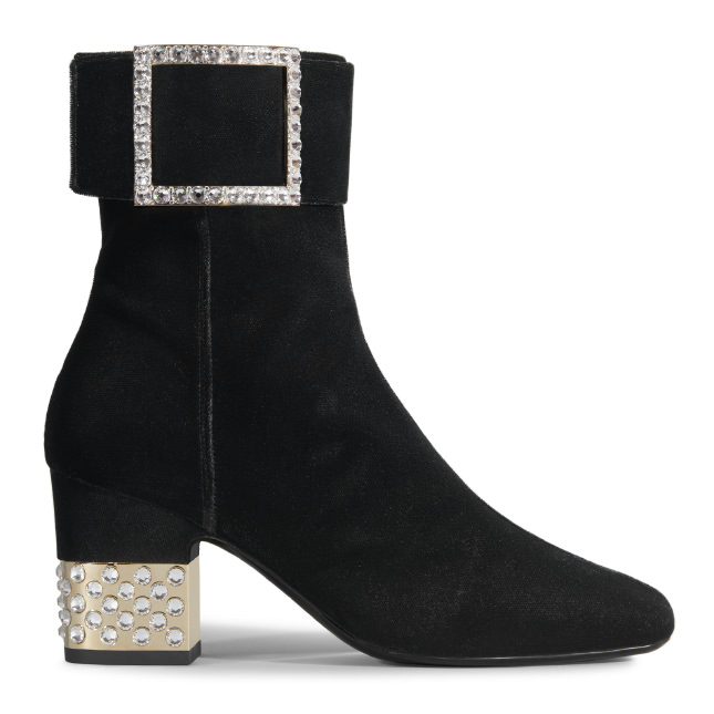 ROGER VIVIER Podium Square Strass Bootie In Velvet at Roger Vivier