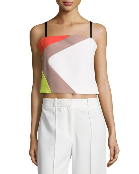MILLY Cropped Cady Colorblock Tank, Multi Colors at LastCall.com