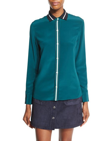 RAG & BONE Nico Long-Sleeve Tipped Silk Blouse, Teal at LastCall.com
