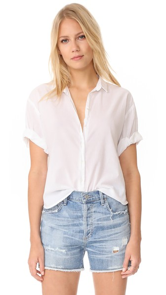 XIRENA Chance Short Sleeve Button Down in White
