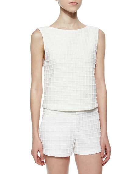 ALICE AND OLIVIA Eryn Patterned Boxy Top, White