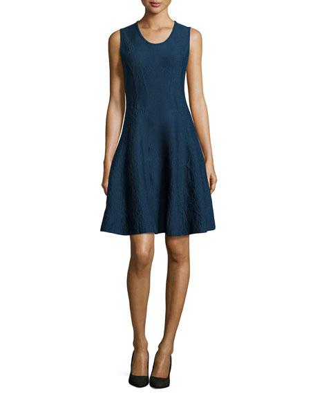 ZAC ZAC POSEN Sleeveless Textured Fit & Flare Dress, Emerald