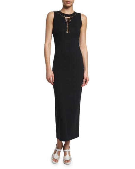 FUZZI Cutout-Neck Long Coverup Dress, Black