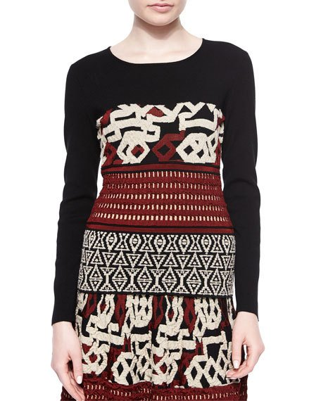 ETRO Long-Sleeve Multi-Texture Top, Black/Brick/Ivory