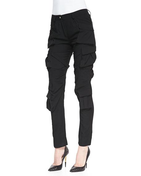 ALTUZARRA Modern Slim Crepe Cargo Pants, Black