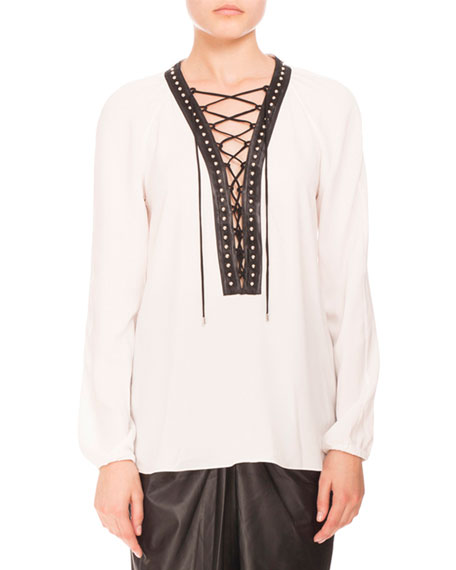 ALTUZARRA Studded Lace-Up Peasant Blouse, Natural White at BERGDORF GOODMAN
