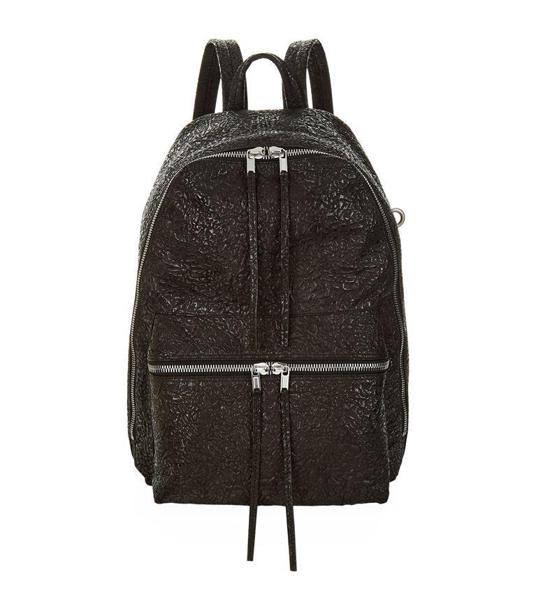 RICK OWENS Crinkled Leather Backpack in Black