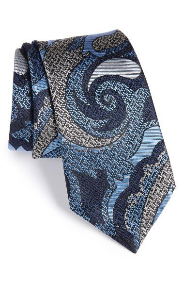 ERMENEGILDO ZEGNA Paisley Silk Tie in Blue