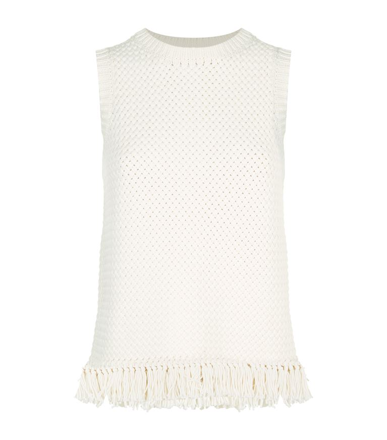 THEORY Meenara Crosshatched Knit Tank Sweater, White at Harrods