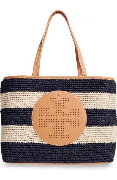 TORY BURCH Straw Perforated Logo Tote Bag, Tory Navy/Natural at Nordstrom