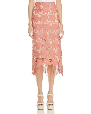 ALICE AND OLIVIA Floral Guipure Lace Pencil Skirt, Pink/White, Multi at Bloomingdale's