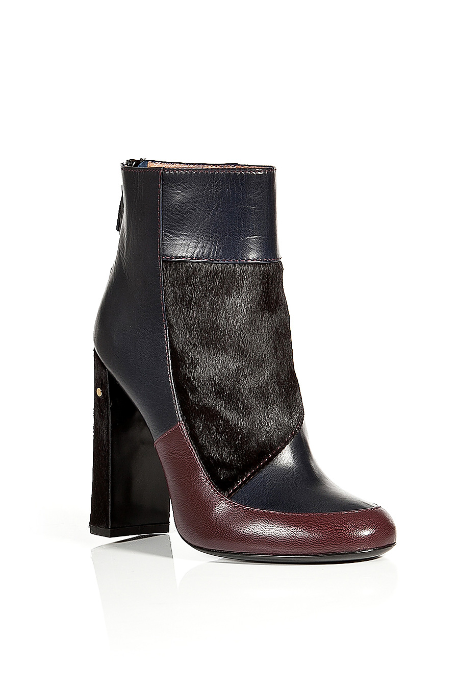 LAURENCE DACADE Leather/Haircalf Patchwork Ankle Boots