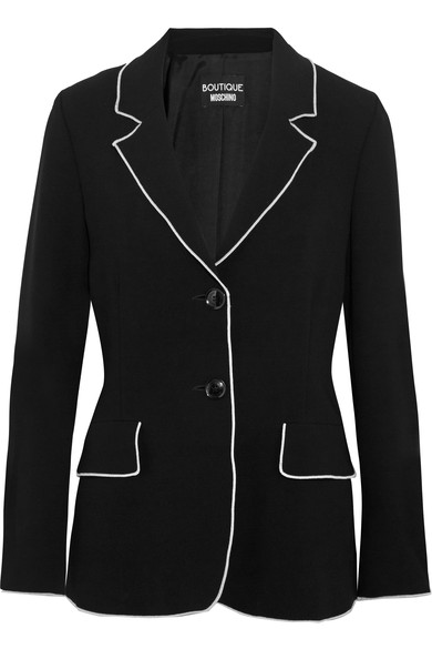 BOUTIQUE MOSCHINO Contrast-Tipped Crepe Blazer, Black at NET-A-PORTER