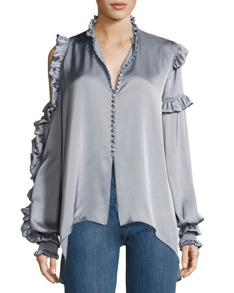 MAGDA BUTRYM Lecce Silk Satin Cold-Shoulder Blouse, Gray at Neiman Marcus