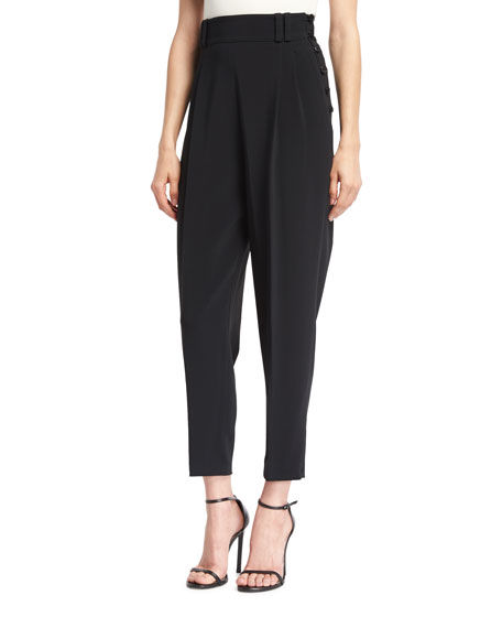 3.1 PHILLIP LIM Tailored High-Waist Side-Button Pants, Black at BERGDORF GOODMAN