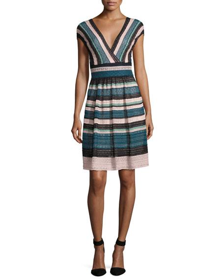M MISSONI Cap-Sleeve Lace Ribbon Knit A-Line Dress, Teal at BERGDORF GOODMAN