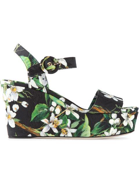 DOLCE & GABBANA Orange Blossom Print Brocade Wedge Sandals at Farfetch