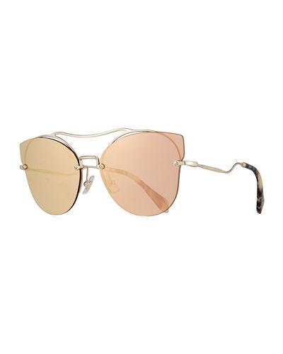 MIU MIU Scenique Rimless Mirrored Brow-Bar Sunglasses, Light Gold, Light Yellow at Neiman Marcus
