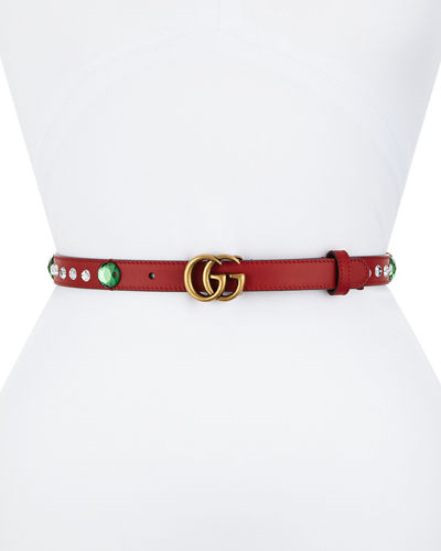 GUCCI Crystal Belt With Double G Buckle - Hibiscus Red Leather
