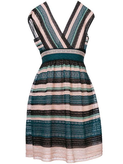 M MISSONI Cap-Sleeve Lace Ribbon Knit A-Line Dress, Teal at Farfetch