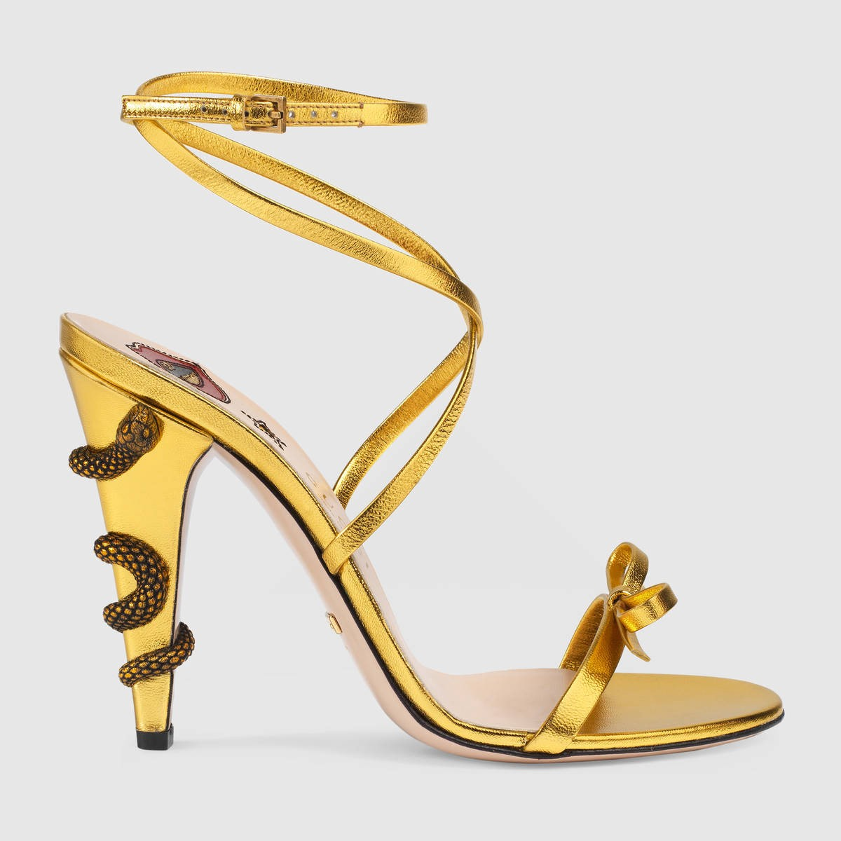 GUCCI Leather Crisscross Sandal - Gold Leather