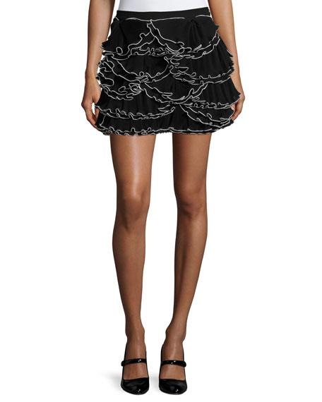 BOUTIQUE MOSCHINO Ruffled Georgette Miniskirt, Black/White