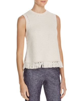 THEORY Meenara Crosshatched Knit Tank Sweater, White at Bloomingdale's