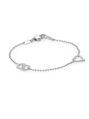 GUCCI Boule Heart & Interlocking G Sterling Silver Bracelet