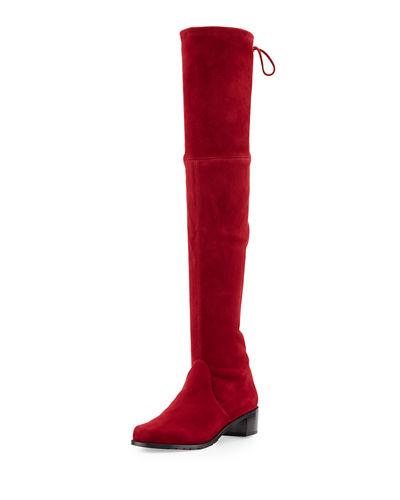 STUART WEITZMAN Lowland Suede Over-The-Knee Boot, Scarlet Suede at Neiman Marcus