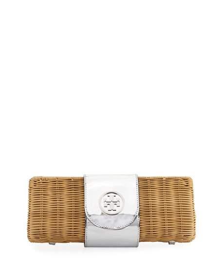 TORY BURCH Rattan Straw Metallic Clutch Bag, Silver at Neiman Marcus
